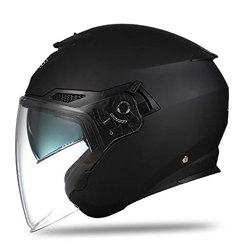 SRUN Casco Moto Nero Opaco Unisex Casco Jet Casco a Visiera Doppia Lente Casco Moto Casco Leggero con Visiera Aperta (M, L, XL, XXL),XL