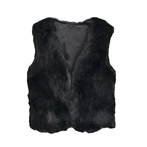 Baby Girl V Neck Soft Faux Fur Vest Warm Sleeveless Jacket, Children Winter Clothes-S(1-2years)