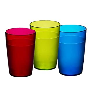 Virtually Glass Set of 6 Roltex Unbreakable Reusable Polycarbonate Kids Multi Coloured Tumblers (Volume 250ml to rim, Height 10.4cm, Max Diameter 7cm)
