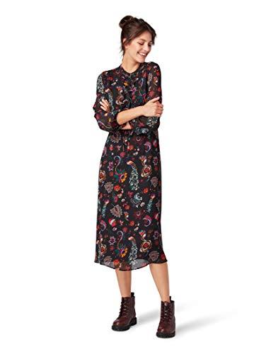 TOM TAILOR Denim für Frauen Kleider & Jumpsuits Kleid mit Blumenmuster Black Flower Alloverprint, L
