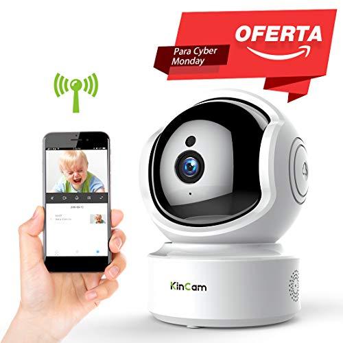 Cámara de Vigilancia KinCam Cámara de Seguridad Inalámbrica 1080P Cámara IP de Vigilancia Doméstica WiFi para Bebés/Personas Mayores/Mascotas/Niñeras Pan/Tilt Audio Bidireccional y Visión Nocturna