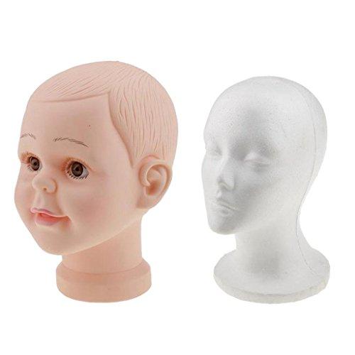 MagiDeal 2 Stücke/Set Kinderkopf Schaufenster Deko Kopf Kinder Mannequin Model Puppe - Hüte Mütze Brille Perücke Schaufensterpuppe + Styroporkopf Schaufenster Dekokopf Schaufenster Anzeige Modellkopf