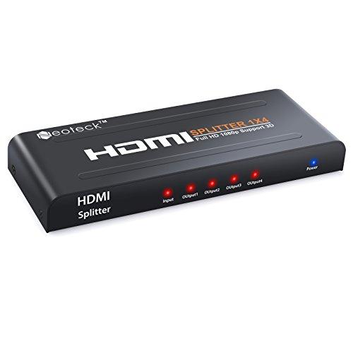 Neoteck 4 Way HDMI Splitter 1080P HD Cubo Smart Splitter Box HDMI Splitters 1 Entrada 4 Salidas 3D Amplificador Activo para HDTV PC Proyector Sky Box PS3 PS4 Xbox STB