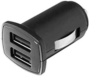 Aluratek Dual USB 5V/2A Car Charger for iPhone, iPad, iPod , Smartphones, Tablets and Media Devices (Black)