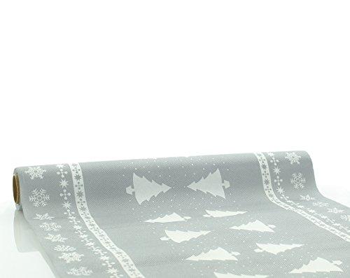Sovie Home Tischläufer WHITE TREE / Linclass® Airlaid Tischläufer 40cm x 4,80m / Einmal Tischdecken-Rolle stoffähnlich / Weihnachten (silber)