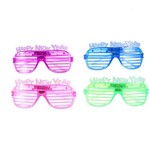Frohes Jahr Kostüm Neues - Amosfun Frohes neues Jahr leuchtende Brillen 2020 Flash Brillen Neujahr Party Kostüm Foto Requisiten 4pcs (zufällige Farbe)