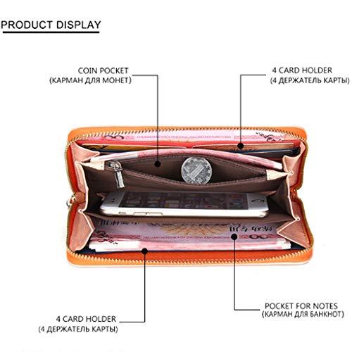 Frauen lange Abschnitt Wallet Card Package Vintage Buckle Leder Clutch (Color : Pink, Size : 20 * 2.5 * 10)