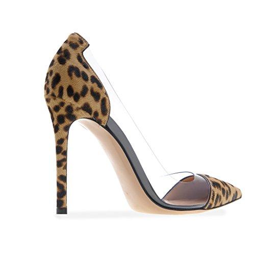 EDEFS - Scarpe col tacco Donna - 12cm - Tacchi Alti - Trasparente Scarpe col Tacco - Tacco a spillo Leopard