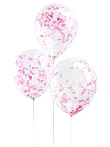 Ginger Ray Hochzeit Geburtstag Luftballon Konfetti 5 Stck. pink - Mit Glitzer Luftballons