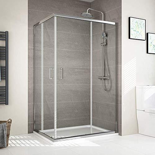 Eckeinstieg Duschkabine 80 x 90 cm Duschabtrennung Mit Nano-Beschichtung Höhe 195cm Doppel Schiebetür Duschtür Duschwand