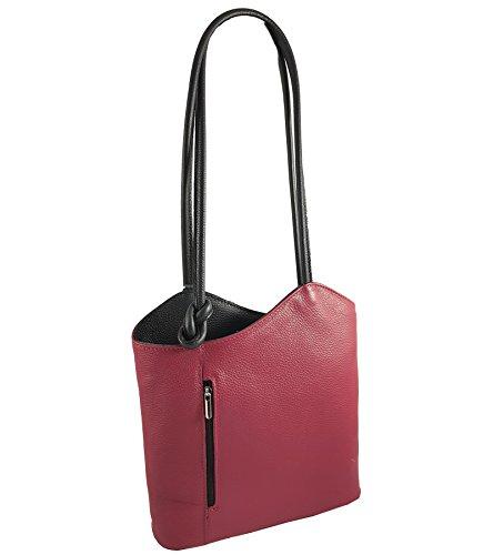 2 in 1 Handtasche Rucksack Designer Luxus Henkeltasche aus Echtleder in versch. Designs Glattleder Bordeaux-Schwarz