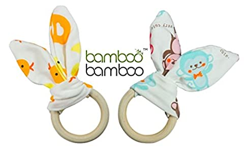 Organic Bamboo Bunny Ears Wooden Thé Thing Rings and Sensory Baby Toy 2Pack soothes Sore Gums While promoting Fine Moteur de la main Skills and Eye Coordinated