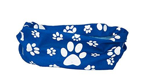 Pañuelo para perro azul reflectante con estampado de huellas de pata y huesos - RUFFNEK - Seguro y visible