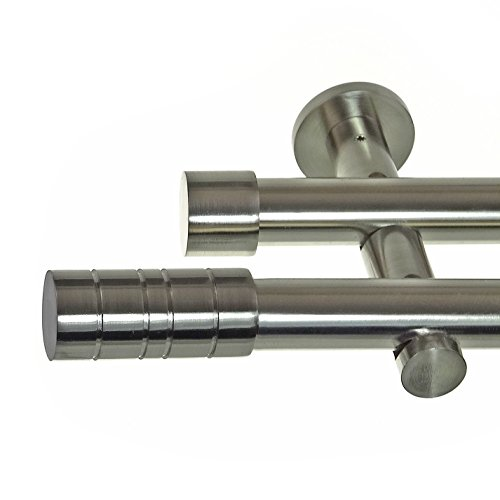 Edelstahl Look Gardinenstange Ø 20mm Wandträger 2-läufig zweiläufig Wandbefestigung Zylinder H41...