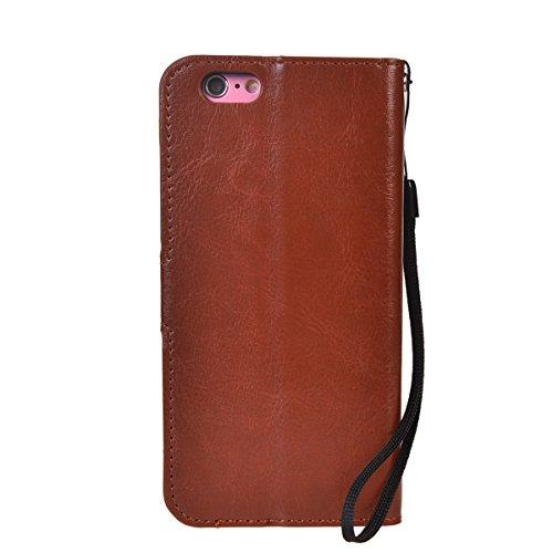iPhone 6/ 6S (4.7 inches) Coque,COOLKE Flip Pliable Cover Case Portefeuille Wallet Etui Cuir Cas Shell avec Pratique Fonction Support Fermeture Magnétique Card Holder pour Apple iPhone 6/ 6S (4.7 inch brun
