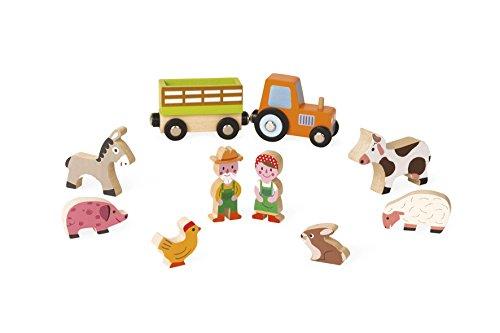 Janod Mini Story set of Wooden Figures, Farm (J08514)
