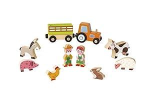 Janod Mini Story set de Figuras de madera, Granja (J08514)