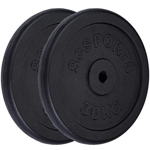 ScSPORTS® 60 kg Hantelscheiben-Set 2 x 30 kg Gusseisen Gewichte 30/31 mm Bohrung, durch Intertek geprüft + bestanden¹