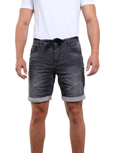riverso Herren Sweat Jeans Shorts FRED Sommer Bermuda Sweathose - schwarz - grau - blau - dunkelblau,Größe:W 38, Farbe:Black Denim (24000)