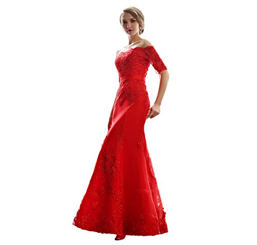 Graduation Kleid Rot (Vimans Damen A-Linie Kleid Rot Rosso 44)