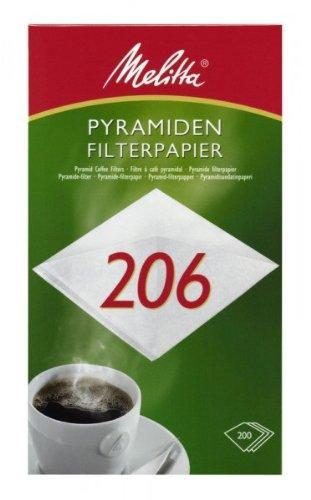 200 x Pyramiden Filterpapier / Kaffeefilter 'Melitta 206' (Weiß)