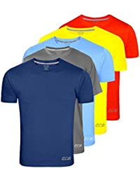 AWG Men's Dryfit Polyester Round Neck Half Sleeve T-shirts - Value Pack of 5