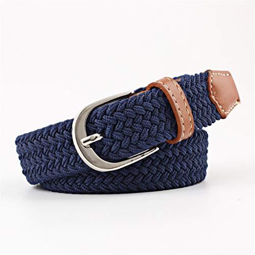 HYDYI-PD Männliche und weibliche Dornschließe Canvas Gürtel, elastischer elastischer Elastikgürtel, blau, 100cm
