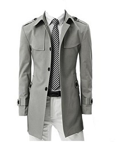 BOMOVO Herren Slim Trench Coat Warm Pea Coat Windbreaker Grau