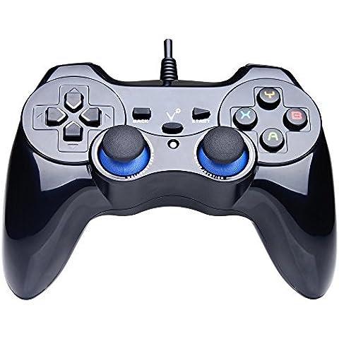 aliver USB PC ordenador vibración con cable controlador de juego Gamepad Joystick para PC (Windows XP/7/8/8.1/10) y Android y PS3(PS arquitectura), color negro
