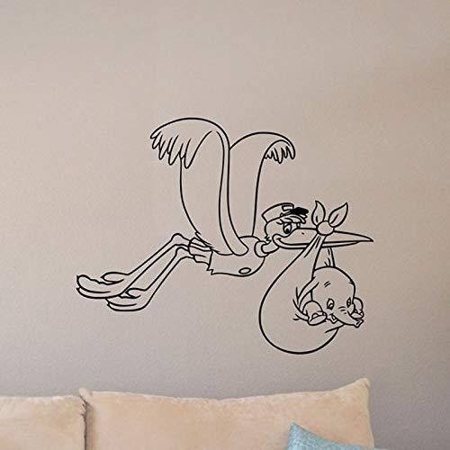 lyclff Baby Dumbo Wandtattoo Storch Dekor Zeichen Poster Zitat Walt Flying Elephant Vinyl Aufkleber Geschenk Baby Room Decor Spielzimmer Wand 72 * 57 cm