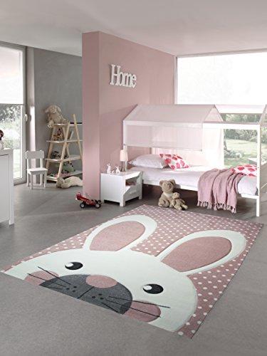 Kinderteppich Spielteppich Teppich Kinderzimmer Babyteppich Hase in Rosa Weiss Grau Größe 160x230 cm -
