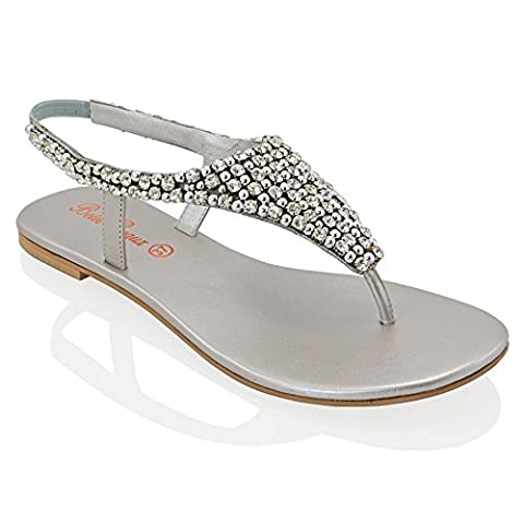 LADIES FLAT DIAMANTE TOE POST WOMENS PEARL HOLIDAY DRESSY PARTY SANDALS SIZE 3-8 (UK 8 / EU 41,