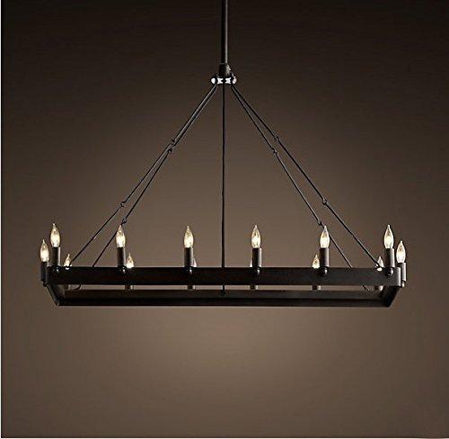 MOMO Personalisierte dekorative Beleuchtung modernen minimalistischen Esszimmer Kronleuchter Cafe Den Diamanten Anhänger, Mode Vogelkäfig schmiedeeisernen Wohnzimmer Kronleuchter, schwarz,Groß