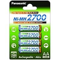 Panasonic High Capacity, Akku Ni-MH 2700, AA Mignon, 4er Pack, min. 2700 mAh, Hochkapazitäts-Akku mit extrastarker Leistung