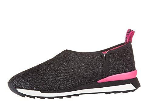 Sneakers slip-on Hogan Rebel donna in tessuto nero - Codice modello: HXW2610U57095XB999 Nero