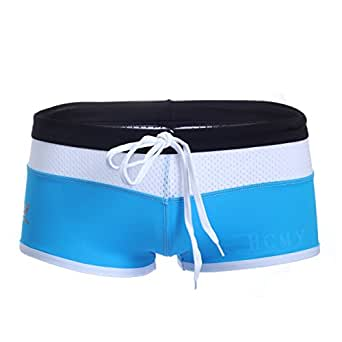 Blue Sexy Men's Slim Fit Swimming Boxer Tight Trunks Shorts Size XS