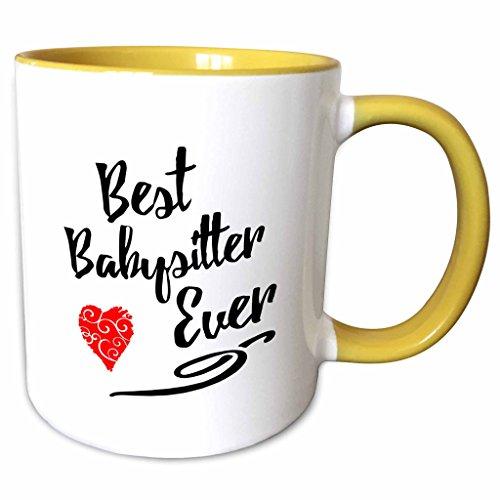 3dRose mug_241106_8 Best Babysitter Ever Design In Black Text With Red Swirly Heart Becher, Gelb/Weiß