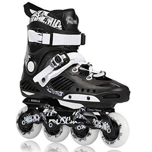 wthfwm Inline Skates Kinder Erwachsene Inline Dreifachschloss Atmungsaktiv Skating Schuhe Fitness Rollschuhe 4 Rollen,Black-41