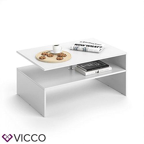 VICCO Couchtisch AMATO 90 x 60 cm - Wohnzimmertisch Beistelltisch Holztisch Kaffeetisch - 3 Farben zur Auswahl (Weiß) Test