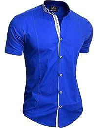 2b50d33b0d Camisa Elegante de Manga Corta para Hombre Cuello Alto Algodón Ajustado