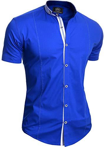 Kontrast Kragen Kleid Shirt (Herren Elegantes Kurzarm-Shirt Stehkragen Baumwolle Weiß Königsblau Slim Fit)