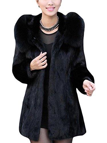 Laozan donna inverno faux pelliccia cardigan cappotto lungo soprabito con cappuccio nero xl
