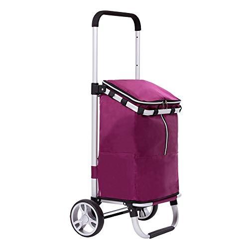 ZA Zusammenklappbarer Einkaufswagen mit rollenden Rädern und Abnehmbarer Tasche, Leichter Trolley Dolly Utility Cart zum Einkaufen, Picknick, Gepäck, Einkaufswagen mit Teleskopstange (Farbe : Rot) (Falten Utility-dolly)