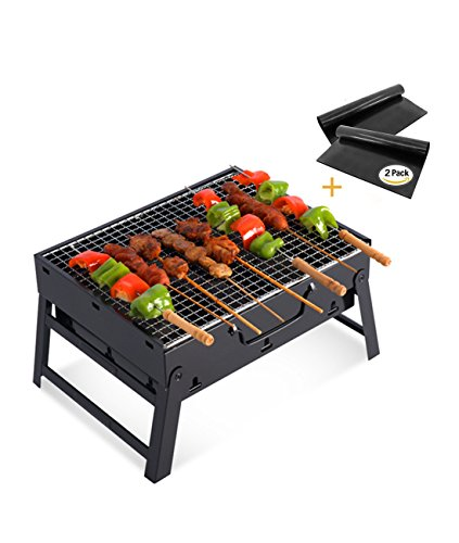 Fecihor Portatile Barbecue Grill, Pieghevole in Acciaio inox Carbone Barbecue Ping Campeggio Esterno Garden Grill Barbecue Utensile (13.8x 10.6x 7.9 pollici)