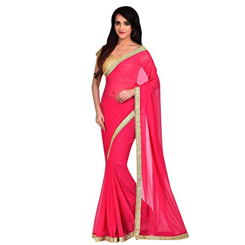 Craftsvilla Womens Georgette Lace Border Pink Saree With Blouse Piece