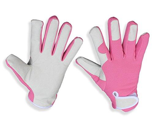 Señoras elegantes, guantes de jardín de cuero del ajuste delgado (color de rosa). Perfecto para el jardín y la casa - Incluso seguro para podar rosas. Regalo ideal ensacado