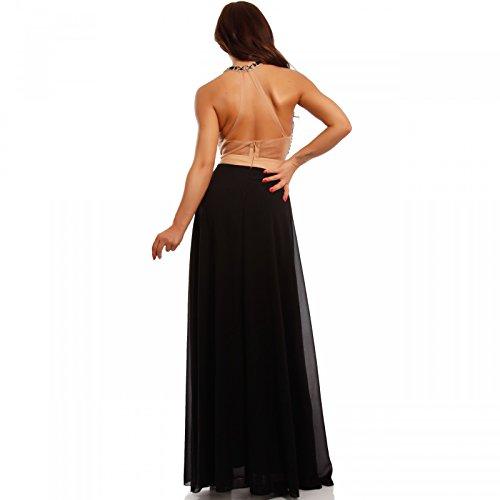 Damen Abendkleid Maxikleid Chiffonkleid mit Strasssteinen Schwarz