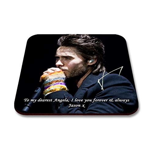 Star Prints UK Jared Leto - Thirty Seconds to Mars - 30 Seconds to Mars 1 Personalised Gift Drink Coaster Mat Autograph Print (with Personalised Message) -