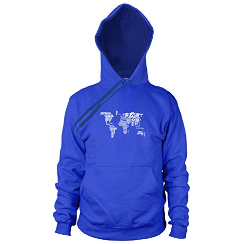 Letter World Map - Herren Hooded Sweater, Größe: XXL, Farbe: blau