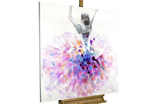 KunstLoft Acryl Gemälde 'Primaballerina' 80x80cm   Original handgemalte Leinwand Bilder XXL   Lila & Pinke Ballerina auf Weiß   Wandbild Acrylbild Moderne Kunst Einteilig mit Rahmen